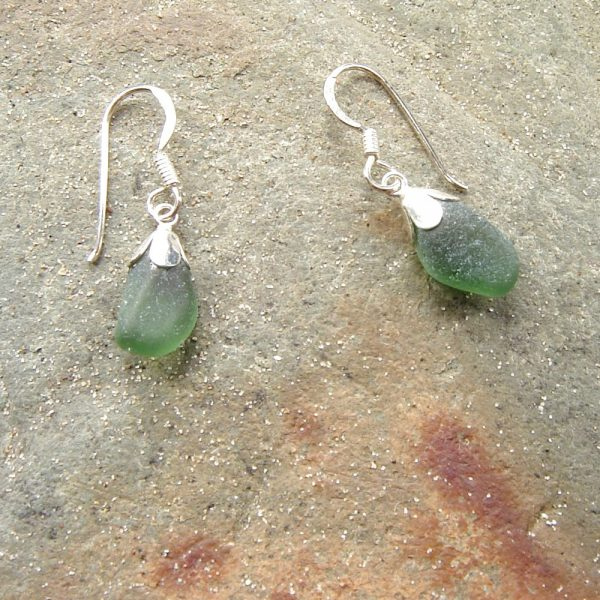 Small Green Frosted Sea Glass Earrings. Tiny English Sea Glass Drop Earrings in green Northumbrian sea glass