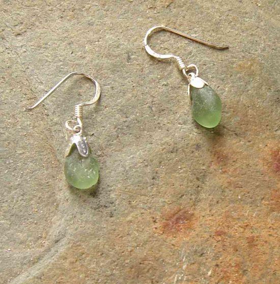 Tiny Green Sea Glass Drop Earrings