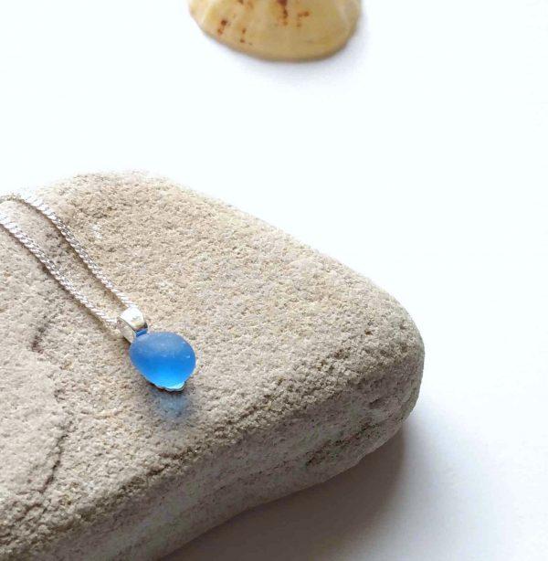 Tiny Light Cobalt Blue Sea Glass Necklace