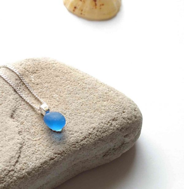Tiny Light Cobalt Blue Sea Glass Necklace SGSSP46b