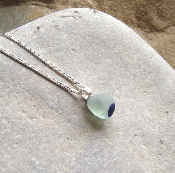 Rare White & Blue Multi Sea Glass Pendant. Small Multi English Sea Glass Necklace in sea glass from the Northumbrian coast of England