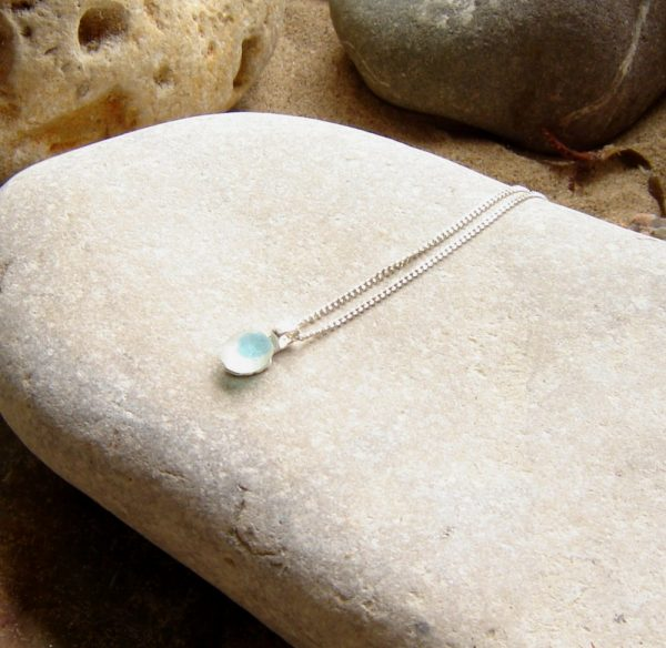 Tiny Teal Blue Multi Sea Glass Necklace. This pendant necklace has been handmade with a tiny piece of English Seaham sea glass, collected by hand.