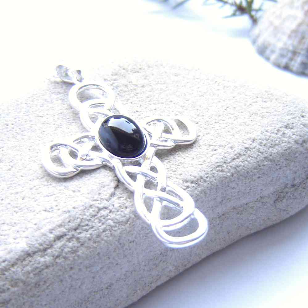 Large Whitby Jet Cross Pendant