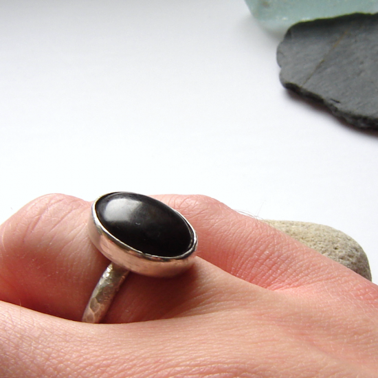 Whitby Jet Men's Hammered Silver Ring