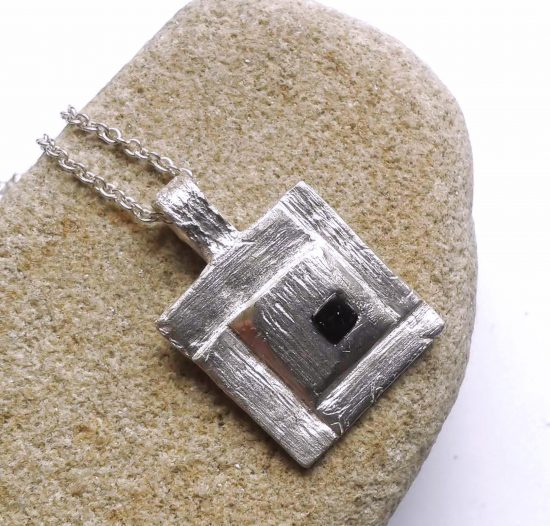 Whitby Jet Inlaid Silver Geometric Pendant 5