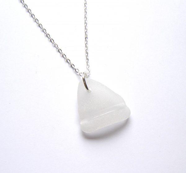 White Bottleneck Sea Glass Necklace