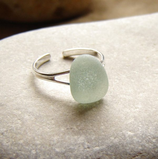 Frosted Seafoam Sea Glass Adjustable Ring. A Northumbrian seafoam sea glass ring made with genuine English sea glass found on the North East coast.