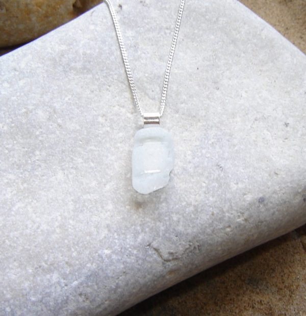White Bottleneck Sea Glass Necklace, hand made in English sea glass hand-collected on the beaches of Northumbria, England.