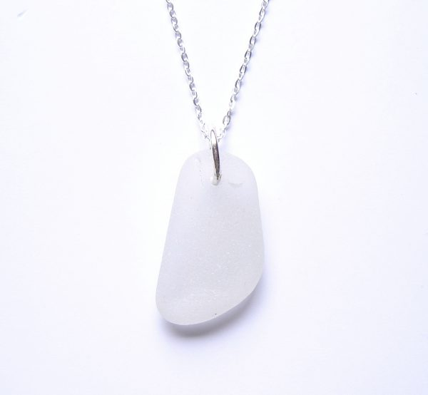 White Frosted Sea Glass Pendant