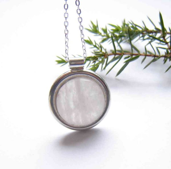 Handcrafted White Milky Quartz Pendant. A round, sterling silver pendant necklace in handcrafted, natural, British quartz. I have collected this natural white gemstone in the Northumbrian region of England, Britain.
