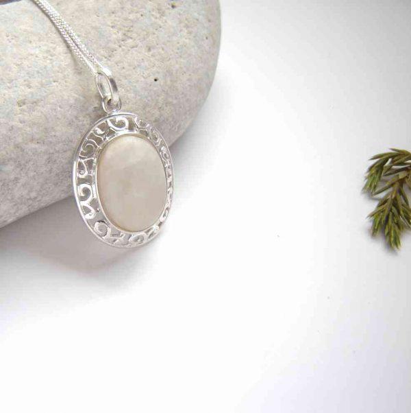 White Natural Quartz Oval Necklace. British Quartz Gemstone Necklace in a sterling silver filigree mount.