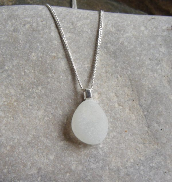 Small Frosted White Sea Glass Pendant. A small English sea glass necklace in white sea glass which has been hand-collected on the Northumbrian coast, North East England,