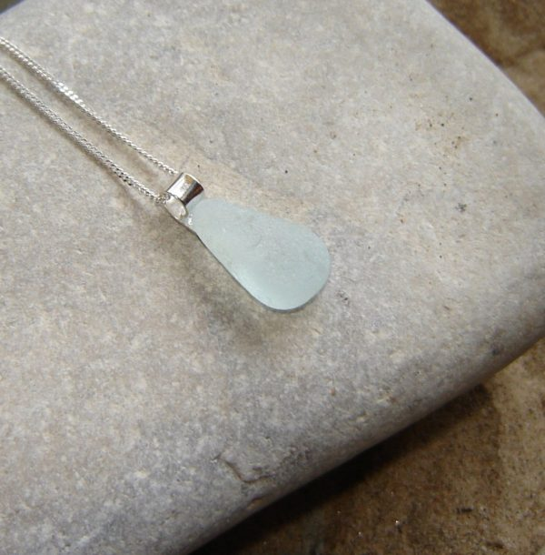 White Geometric Sea Glass Pendant Necklace in sterling silver and genuine English sea glass from the North East coast of England, United Kingdom