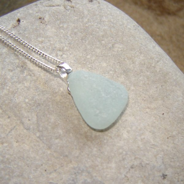 White Sea Glass Triangle Pendant Necklace in genuine frosted seaglass from the beaches of Northumbria, England.