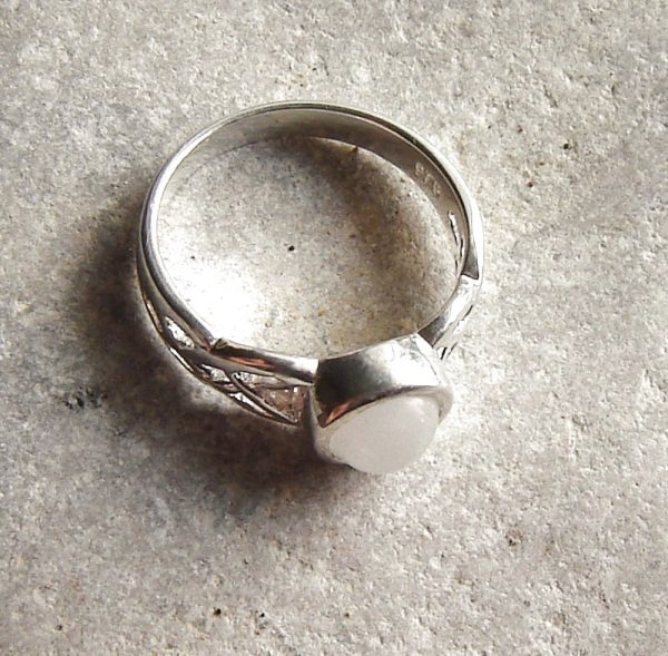 Celtic Knot Ring in Natural White Quartz which has been hand-collected on Northumbria's coastline, England