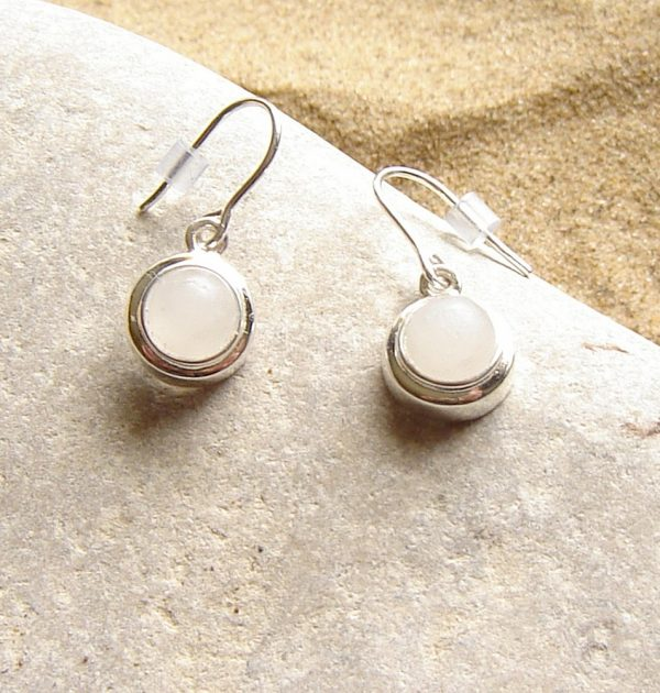 Natural White Quartz Drop Earrings. White British Quartz Cabochon Drop Earrings in natural white quartz which has been hand-collected in the North East of England