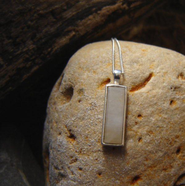 Natural White Quartz Oblong Necklace. White British Quartz Oblong Pendant in Sterling Silver