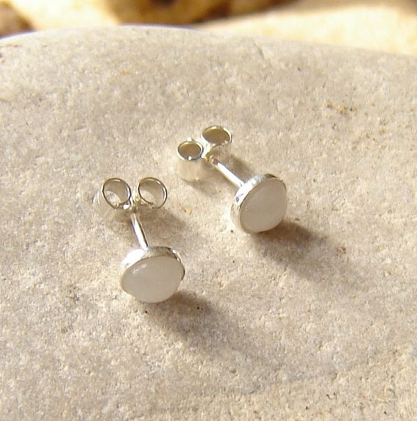 Natural White Quartz Stud Earrings. British Natural Quartz Stud Earrings in Sterling Silver