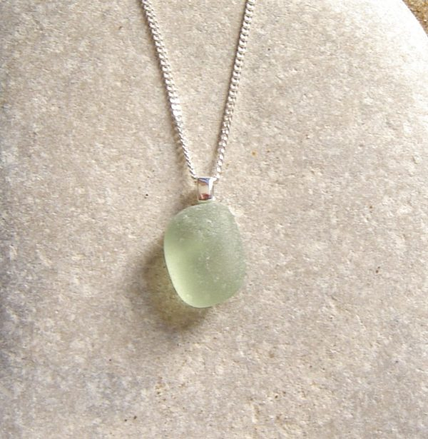 Green White Frosted Sea Glass Pendant. English Sea Glass Pendant Necklace in green white sea glass hand collected on the Northumbrian coast of England