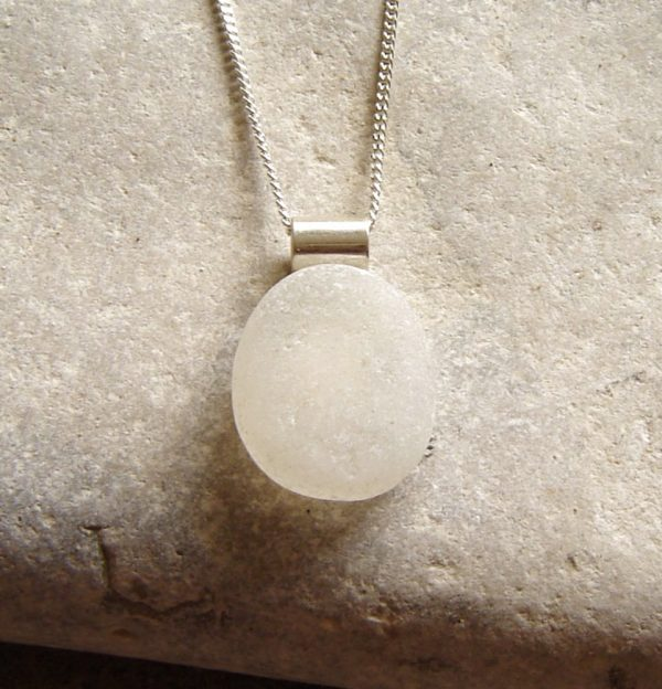 White Frosted Sea Glass Oval Pendant. English Sea Glass Pendant Necklace in white frosted oval sea glass, set on a sterling silver rolled tube bail