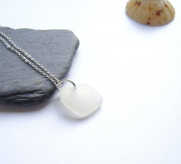 White Northumbrian Sea Glass Pendant