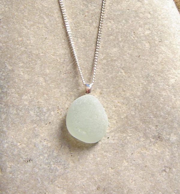 Small White Frosted Sea Glass Pendant. English Sea Glass Pendant Necklace in white frosted sea glass hand collected on the Northumbrian coast of England.