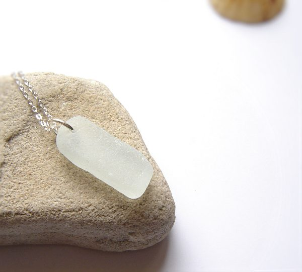 White Oblong Sea Glass Necklace