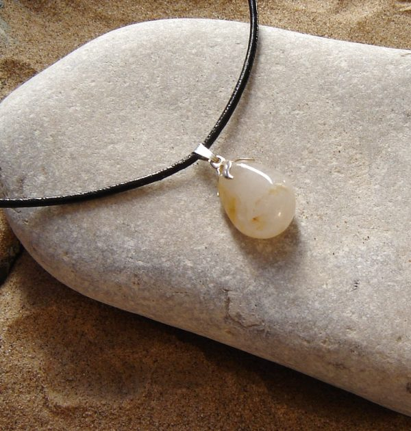 Natural White & Ochre Quartz Choker Necklace, handmade in quartz hand-collected on the North East coast of England, United Kingdom
