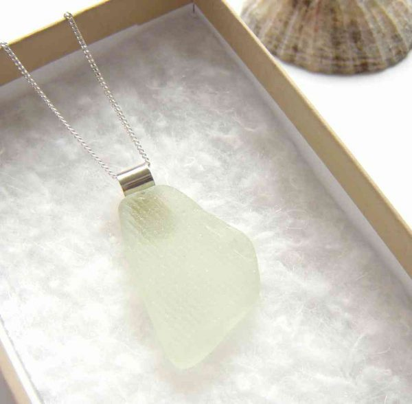 White Ridged Patterned Sea Glass Pendant on a sterling silver rolled tube bail
