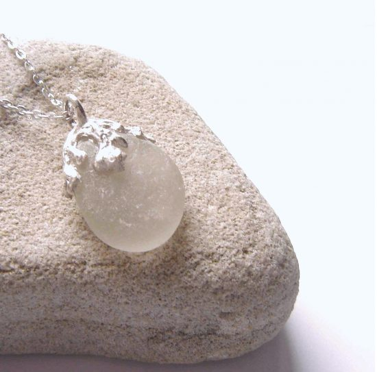 White Sea Glass Coastal Inspired Necklace
