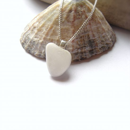 White Sea Glass Heart Necklace