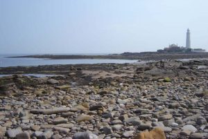 About Northumbria Gems Jewellery. Original English, Northumbrian stone and sea glass jewellery handmade in the North East of England. Image of St. Mary's Island, North East coast of England
