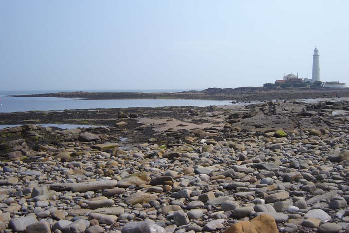 About Northumbria Gems Jewellery, original English, Northumbrian stone and sea glass jewellery handmade in the North East of England. Image of St. Mary's Island, North East coast of England