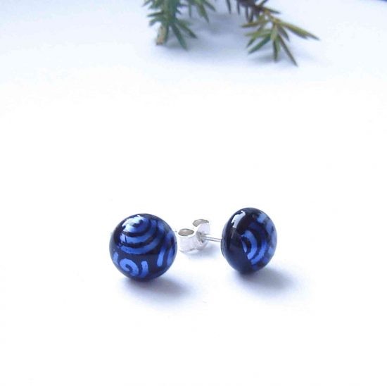Blue Spirals Dichroic Glass Stud Earrings