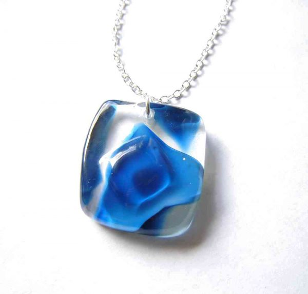 Blue Swirls Large Glass Pendant. Made in Britain, in the north of England.