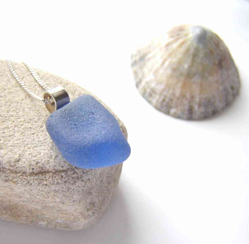 Cobalt Blue Sea Glass Pendant. Cobalt Blue Sea Glass Necklace. Northumbrian sea glass in sterling silver