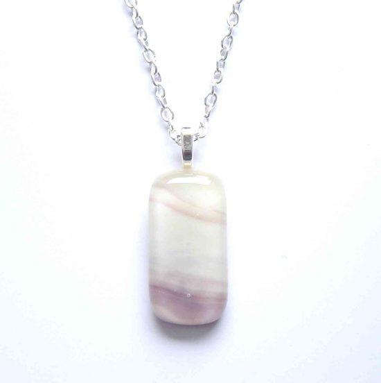 Cream & Purple Swirl Fused Glass Pendant