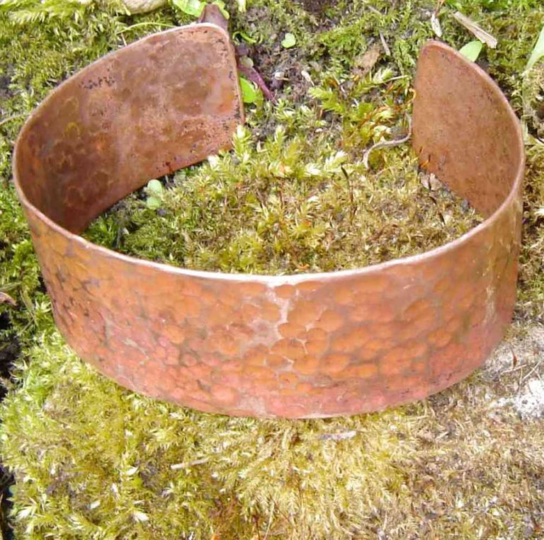Hammered copper bracelets from Northumbria Gems