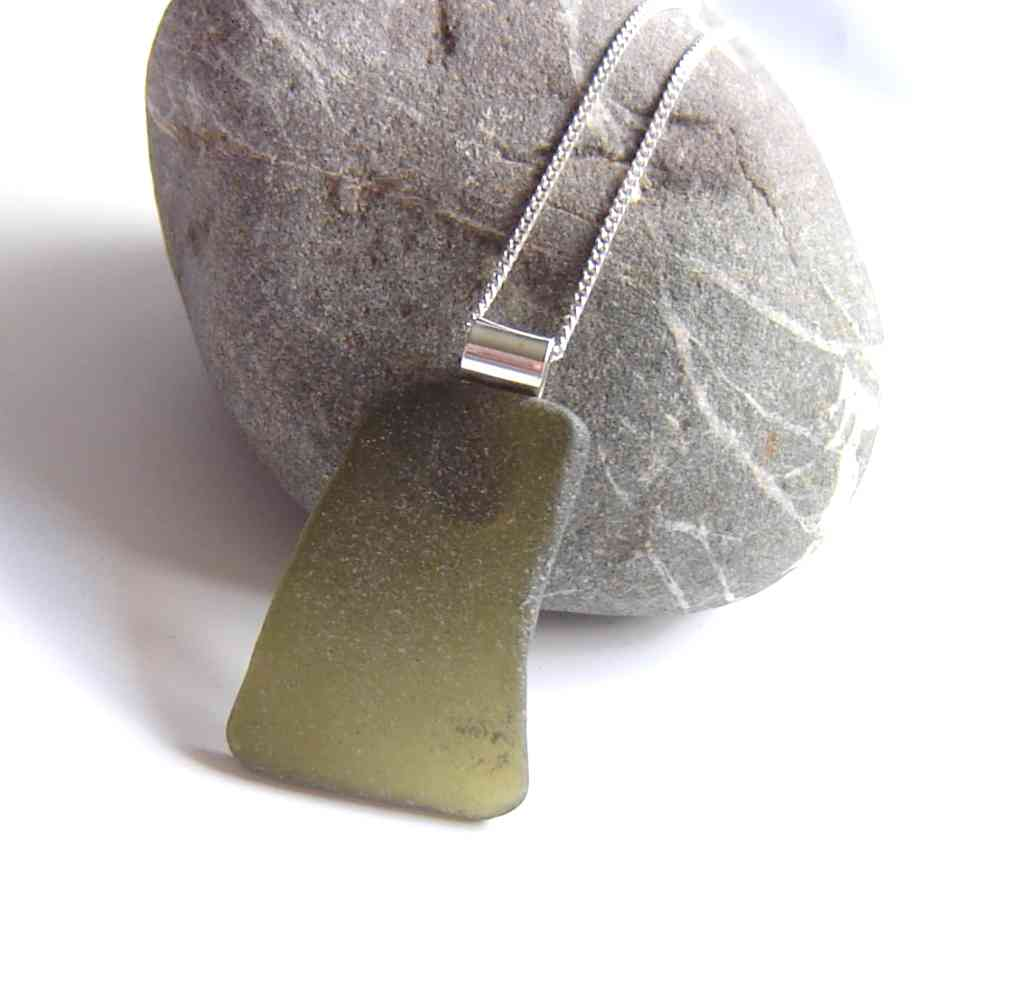Large Olive Green Curved Sea Glass Pendant. Large English Sea Glass Pendant Necklace in green sea glass hand collected on the North East coast of England