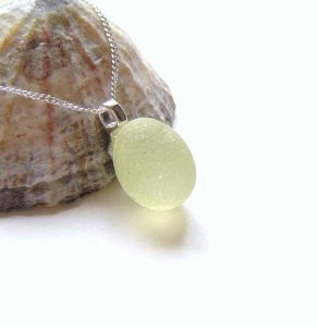 Lemon Yellow Frosted English Sea Glass Necklace: A small, pale yellow Durham sea glass necklace in sterling silver.