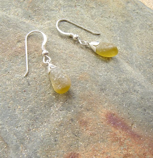 Small Olive Green Sea Glass Earrings. Northumbrian Sea Glass Earrings in green brown sea glass hand-collected on the North East coast of England