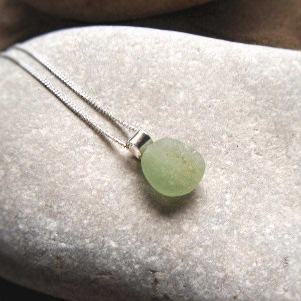 me Green Sea Glass Pendant necklace in sea glass hand-collected on the beaches of Northumbria, England