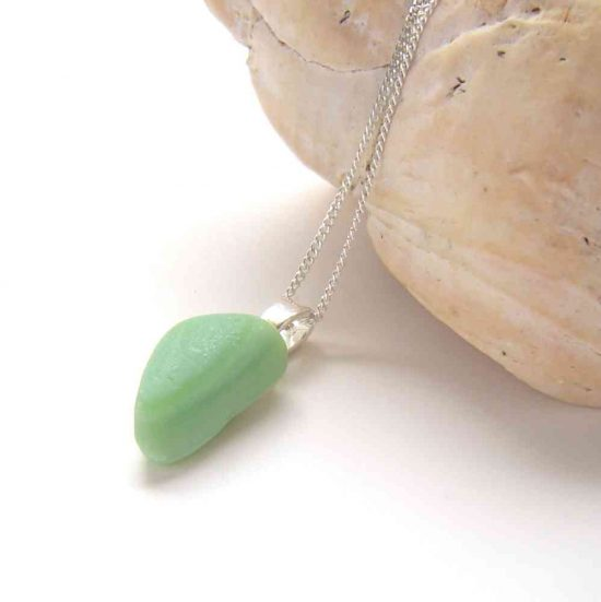 Mint Green Jadeite Sea Glass Necklace in genuine Seaham sea glass hand-collected on the County Durham coast of England.