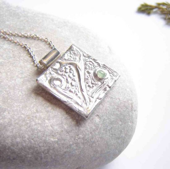 Natural Apatite Coastal-Inspired Silver Pendant. A made-to-order silverwork necklace which I have designed and handmade here in the north-east of England, United Kingdom.
