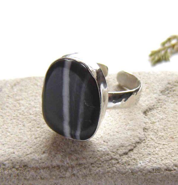 Natural Black Quartzite Hammered Silver Ring. A natural stone, hammered silversmithed ring handmade in black and white British quartzite which I have collected by hand in the North East of England.