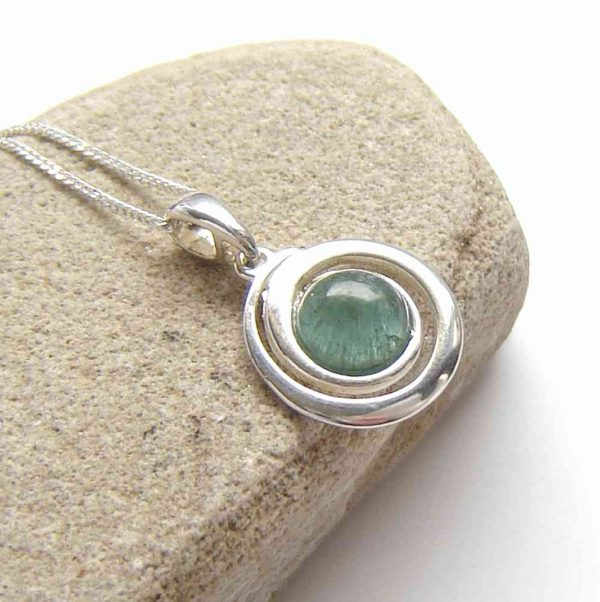 Natural Blue Green Apatite Necklace. An organic style silver necklace, in untreated dichroic apatite collected by hand on the Northumbrian coast.