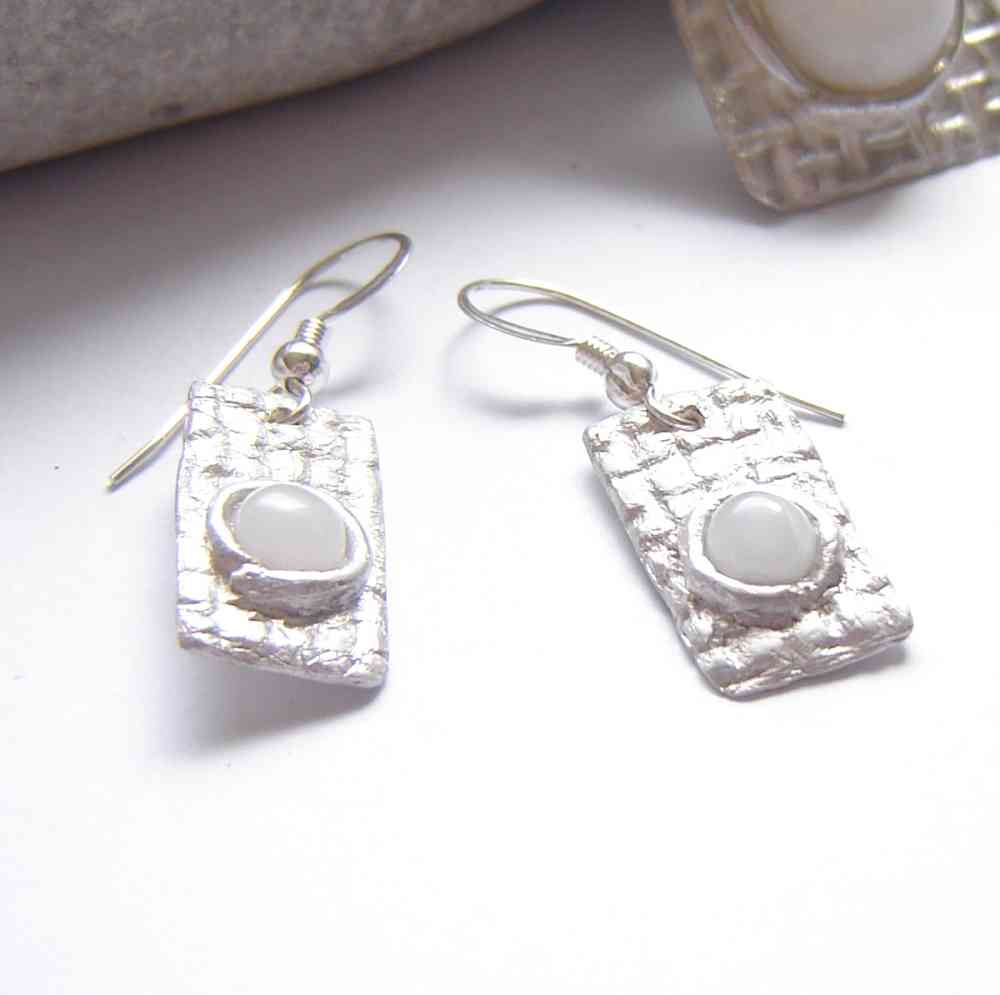 Natural British Quartz Textured Silver Earrings handmade with natural, untreated white quartz, which I have collected in the Northumbria region, England (UK), and silverwork.