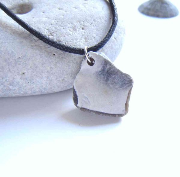 Natural Grey Brown Flint Choker Necklace. A natural, raw flint choker pendant necklace, handmade in a white-coated grey-brown flint. I have collected this natural flint stone by hand on the Northumbrian coast, north-east England. British flint jewellery.