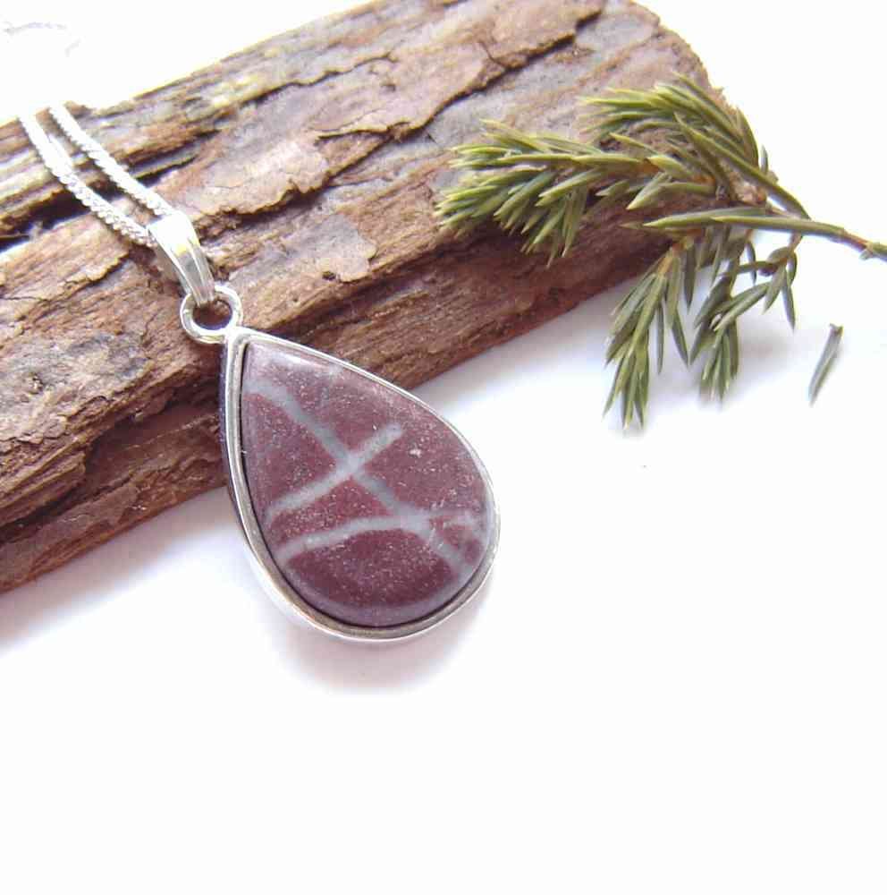 Natural British Stone Necklace with Quartz Veins stone made with stone hand-collected in the north-east of England, Britain.