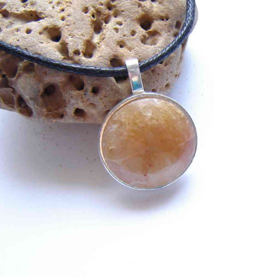 Natural Quartz Large Round Pendant in natural, untreated quartz collected by hand in North East England, cut into a round cabochon, hand finished and set in sterling.